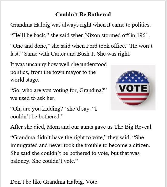 Grandma, politics, election, Grandma Halbig