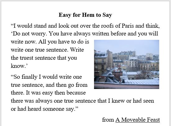 writing, Paris, Hemingway