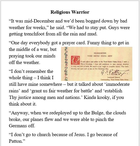 war, Patton, religion