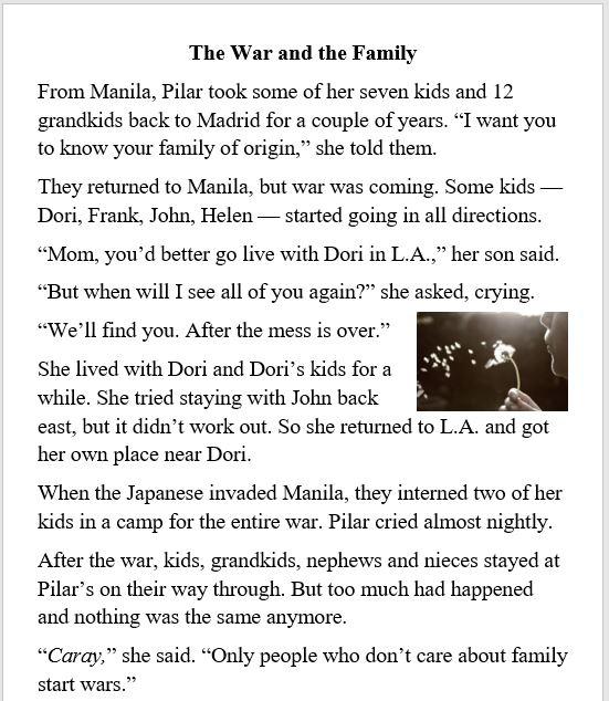 war, family, Pilar, Grandma