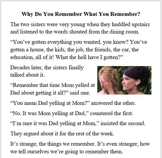 marriage, daughters, parents, siblings, memory